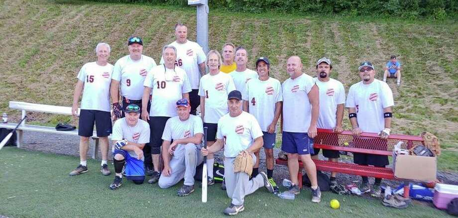 J & B Autobody won the Shelton Recreation Department's Over 35 B Division men's adult softball regular season title with a 12-5 record. J & B will meet Zamba Graphics to decide the playoff champion today (Sept. 5) with a 6:15 p.m. game at the East Village bottom field. Team members rostered are Ed Adamowski, Ted Behrendt, Matt Belden, Phil Botsford, Mark Callahan, Joe Carrafiello, Wayne Coury, Bob Crego, Fred Davila, player/coach Jeff Devine, John Esposito, Bob Kenny, Rich Kopec, Dave Matosian, Dan Orazetti, George Payne, Bob Raynor, Harry Rohn, Reed Stebbins and Dan Verdejo. Photo: J & B Autobody / Contributed Photo / Shelton Herald