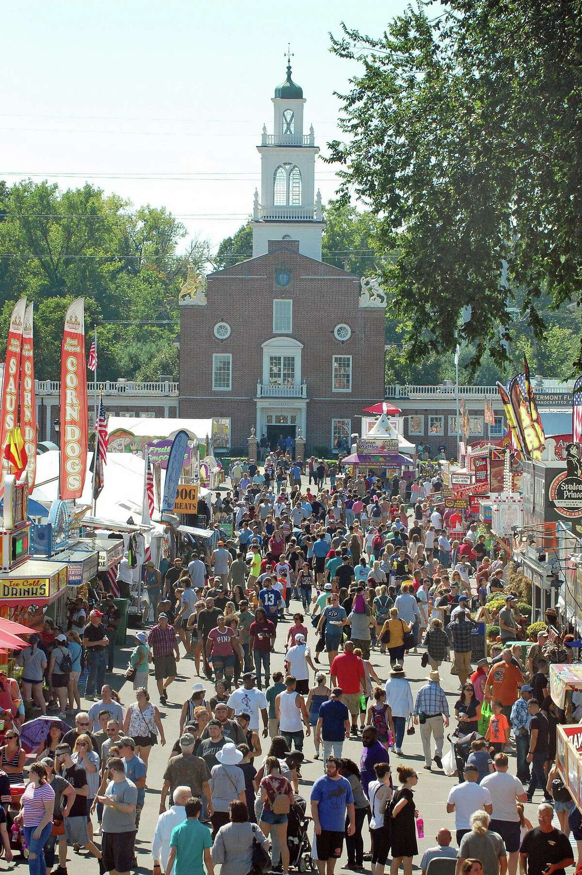 The scene during a busy and bright 2018 day at The Big E.