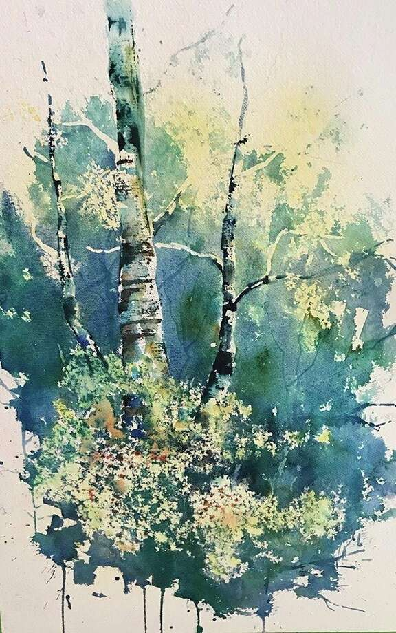 "D J Carmody's latest watercolor ""Birches with Yellow Flowers. (Photo provided/D J Carmody)"