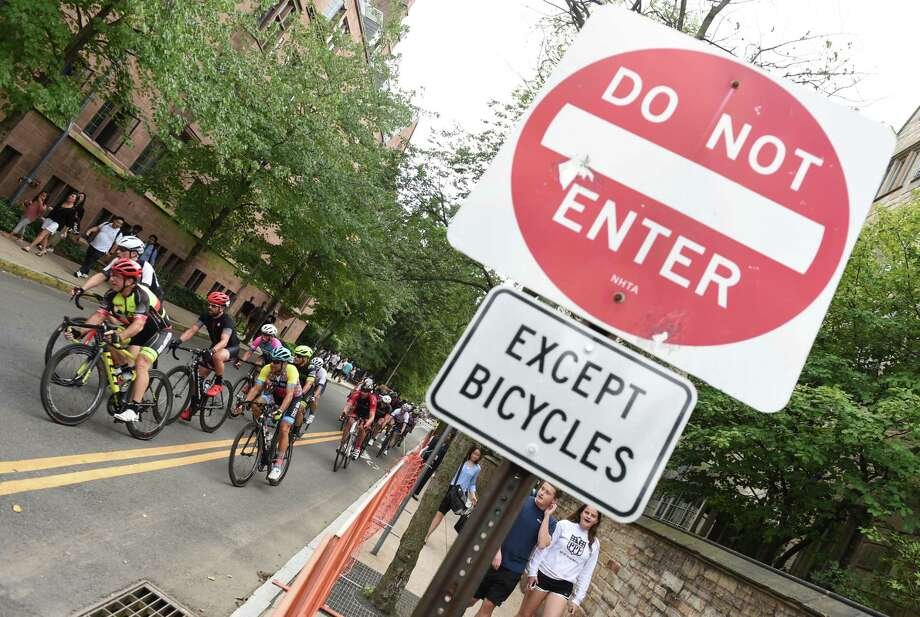 The sign says it all during the 2018 Grand Prix races. Photo: Arnold Gold / Hearst Connecticut Media / New Haven Register