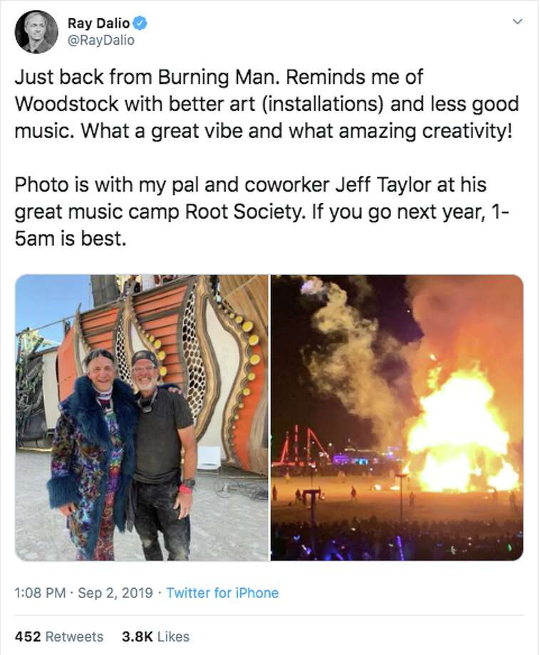 Ray Dalio, hedge fund founder and CT's richest resident, parties at Burning Man