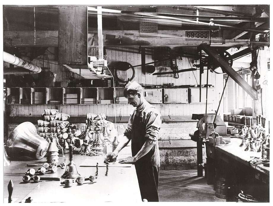 The Chatham History Festival will honor The Bevin Bell Co., celebrating 187 years of producing a variety of bells that are shipped throughout the world. Shown is a 1900 photo of the packing room of the Bevin Brothers Bell factory. Photo: Contributed Photo