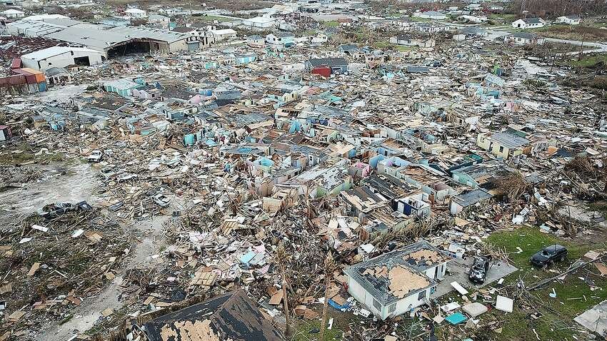Destruction from Hurricane Dorian in an area called