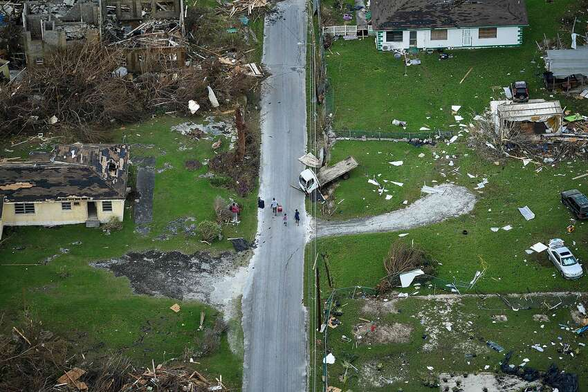 An aerial view of damage from Hurricane Dorian on September 5, 2019, in Marsh Harbour, Great Abaco Island in the Bahamas. - Hurricane Dorian lashed the Carolinas with driving rain and fierce winds as it neared the US east coast Thursday after devastating the Bahamas and killing at least 20 people. (Photo by Brendan Smialowski / AFP)BRENDAN SMIALOWSKI/AFP/Getty Images