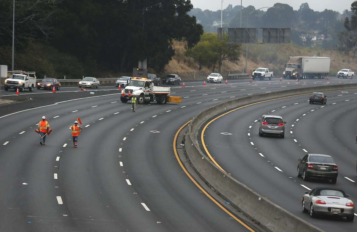 Traffic on westbound Interstate 80 is diverted off the freeway at San Pablo Dam Road after a big rig hauling live chickens overturned in a traffic collision closing all lanes at around 3:30 a.m. in San Pablo, Calif. on Thursday, Sept. 5, 2019. A few hundred chickens survived and a few hundred perished.