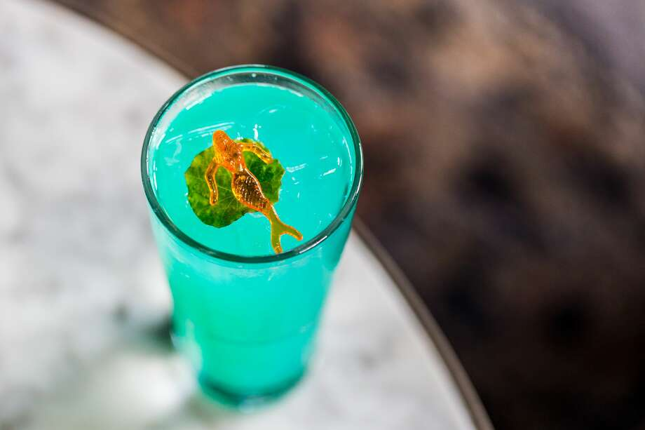 Present Company's Under the Sea BD is a lemon-flavored Cannabidiol or CBD-infused cocktail that bar representatives describe as a modern mix between a classic daiquiri and ranch water. Photo: Becca Wright/Present Company