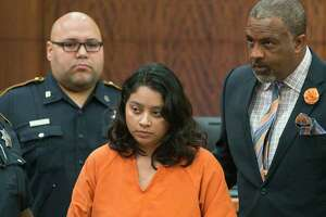 Priscilla Torres, who is charged with evidence tampering in the death of her five-year-old daughter Sienna Patino, appears in State District Judge George Powell's court in downtown Houston, Thursday, Sept. 5, 2019. Sienna Patino's body was discovered in a closet on Labor Day.