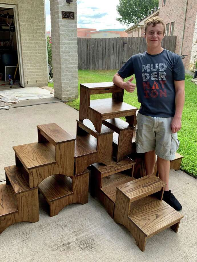 Ryan Hutson made 12-step stools for The Ballard House as part of his Eagle Scout project. Here are some of the completed stools. Photo: Mark Hutson / Mark Hutson