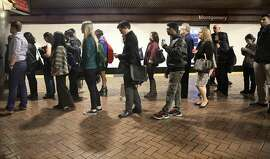 The Montgomery BART station during rush hour.