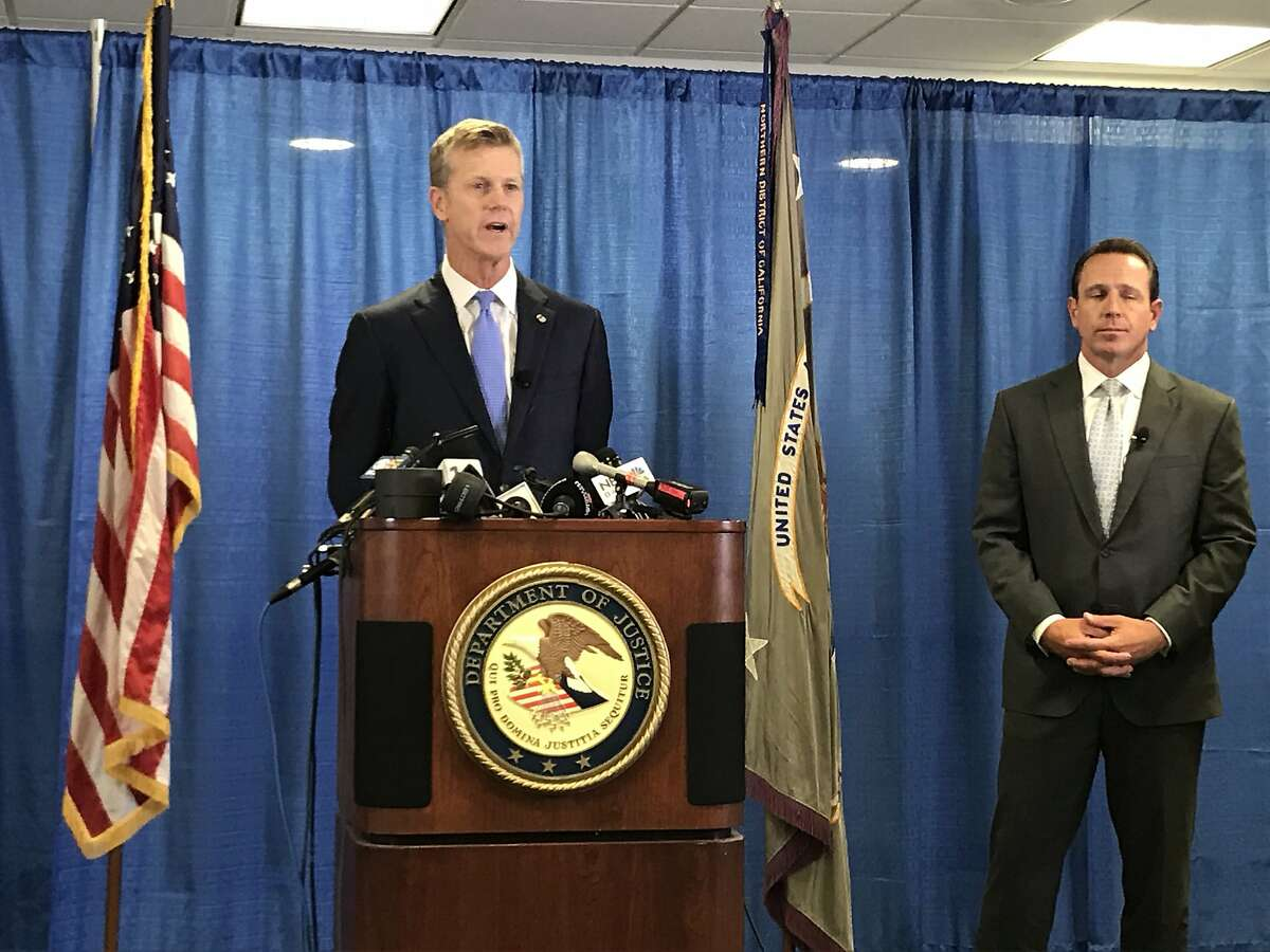 U.S. Attorney David Anderson announces charges against 30 defendants in a Bay Area health care fraud scheme.