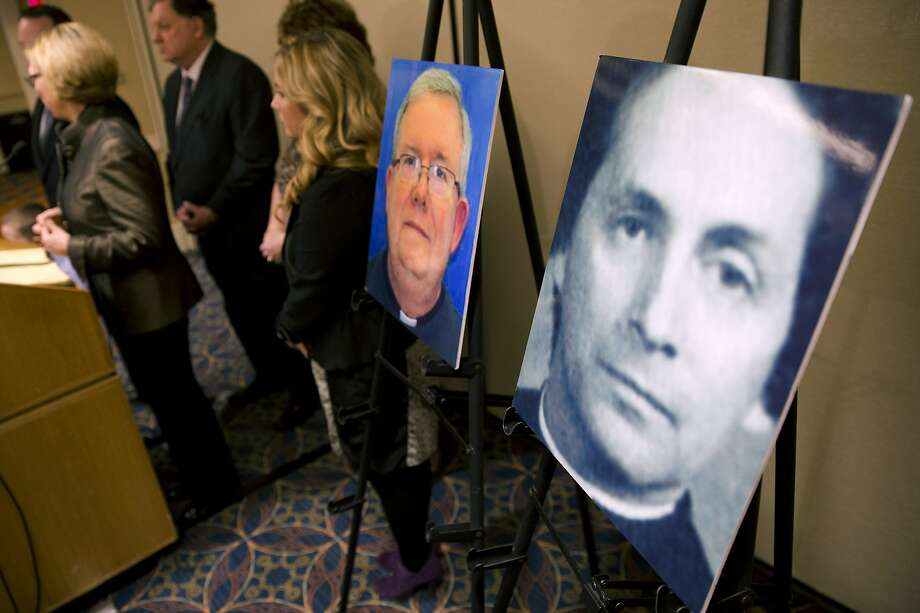 A photo of defrocked priest Robert Brennan (right) is shown during a 2013 news conference in Philadelphia, when attorneys for the family of Sean McIlmail announced they were filing a wrongful death lawsuit against Roman Catholic Church officials. Photo: Matt Rourke / Associated Press 2013