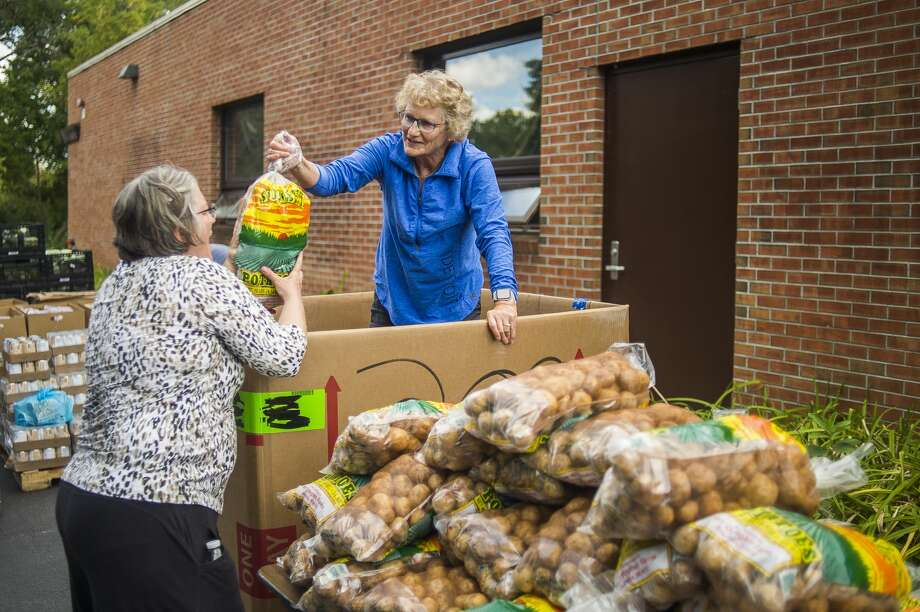 Midland residents Judy McCabe, center, and Kathy Carr, left, unload bags of potatoes from a large box as they help to load food items donated by the Midland County Emergency Food Pantry Network into vehicles during the annual Project Community Connect event Thursday, Sept. 5, 2019 at Trinity Lutheran Church. (Katy Kildee/kkildee@mdn.net) Photo: (Katy Kildee/kkildee@mdn.net)
