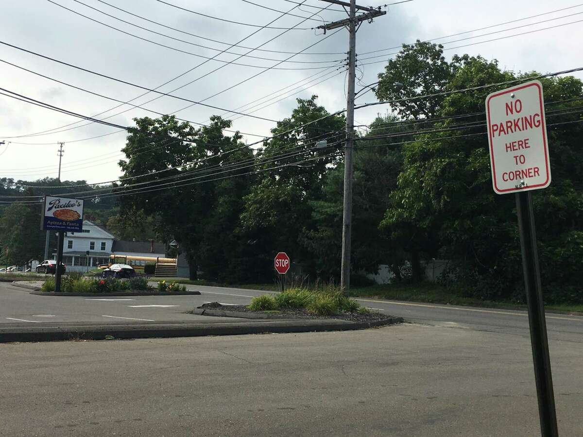 """In a civil lawsuit against North Branford, Albert H. Pacileo III, owner of Pacileo's Apizza & Pasta, alleged the """"no parking"""" signs posted on Merrick Drive, pictured here on Sept. 4, 2019, hurt his business. Town officials said they were posted in response to complaints of overcrowding, according to court records."""