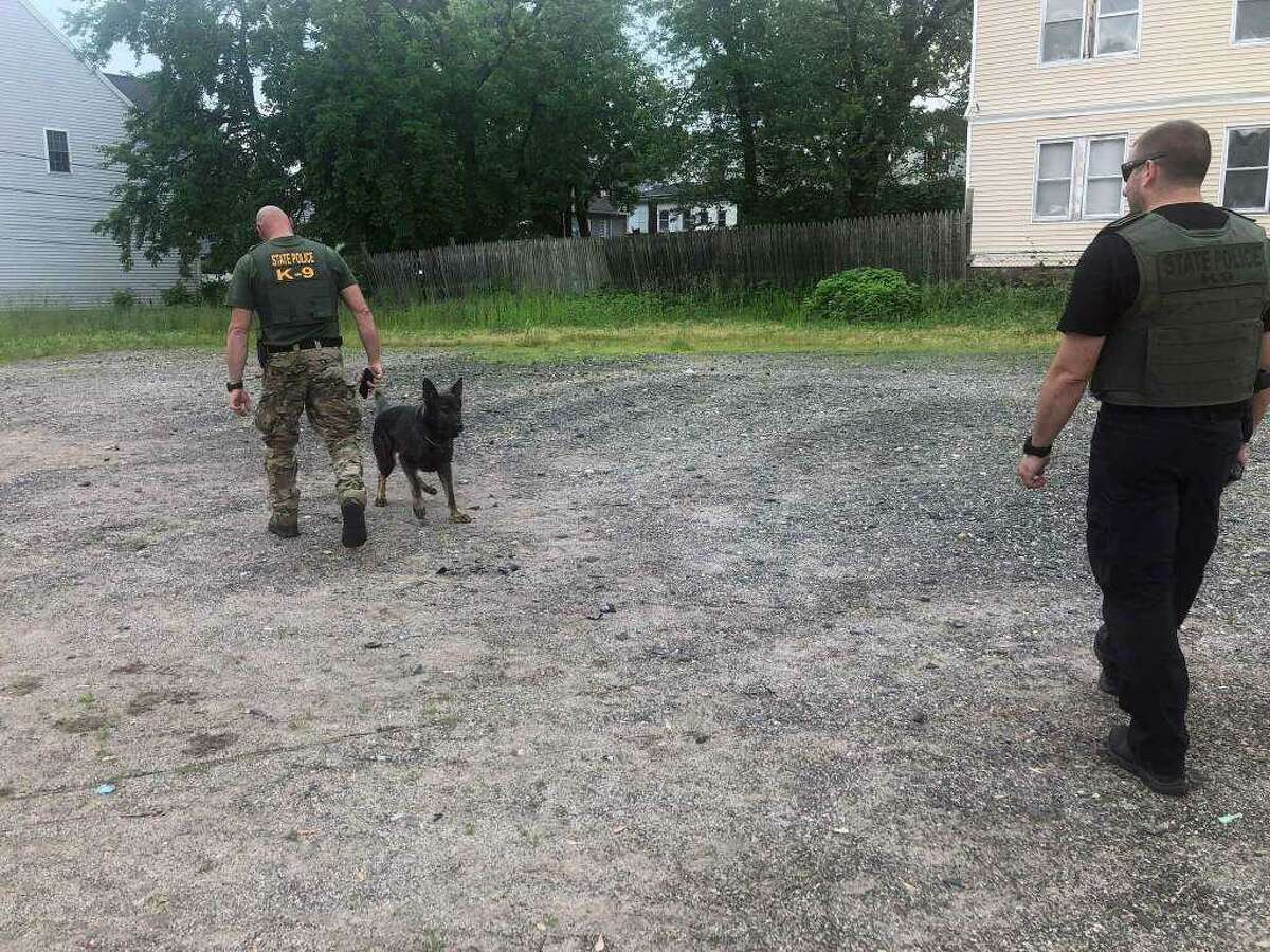 State police K-9 teams search an area of Hartford where authorities said Fotis Dulos was seen dumping bags that contained his wife's blood.