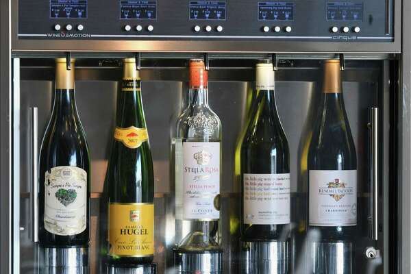 Self-serve wine bar at Shaker & Vine on Thursday, Aug. 29, 2019, at Mohawk Harbor in Schenectady, N.Y. (Will Waldron/Times Union)