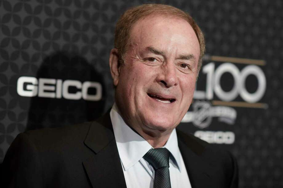 """FILE- In this Jan. 27, 2017, file photo, NBC a€œSunday Night Footballa€ announcer Al Michaels arrives at the The NHL100 Gala held at the Microsoft Theater in Los Angeles. Michaels has been a prime-time fixture in the NFL for decades as the voice of """"Monday Night Football"""" on ABC for 20 years and is now entering his 14th season calling Sunday night games on NBC.  (Photo by Richard Shotwell/Invision/AP, File) Photo: Richard Shotwell / 2017 Invision"""