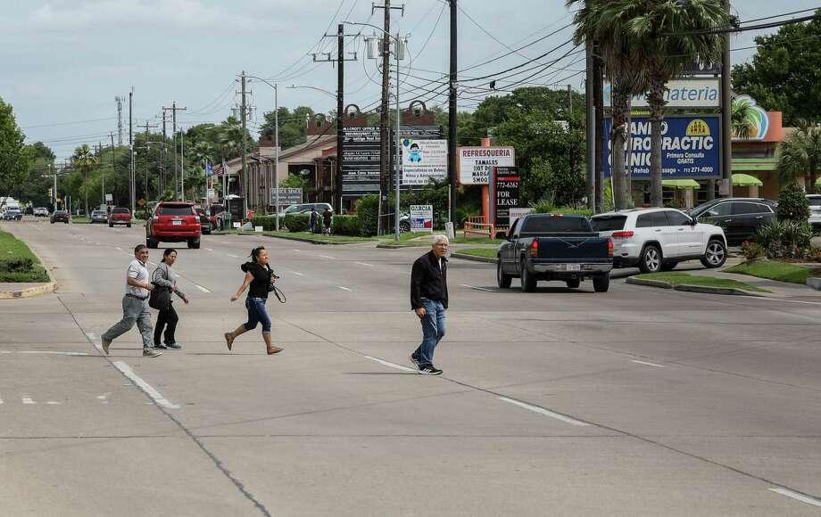 A group of people cross Hillcroft Avenue near Bellaire Boulevard on Tuesday, April 16, 2019, in Houston. Photo: Jon Shapley, Houston Chronicle / Staff Photographer / © 2019 Houston Chronicle