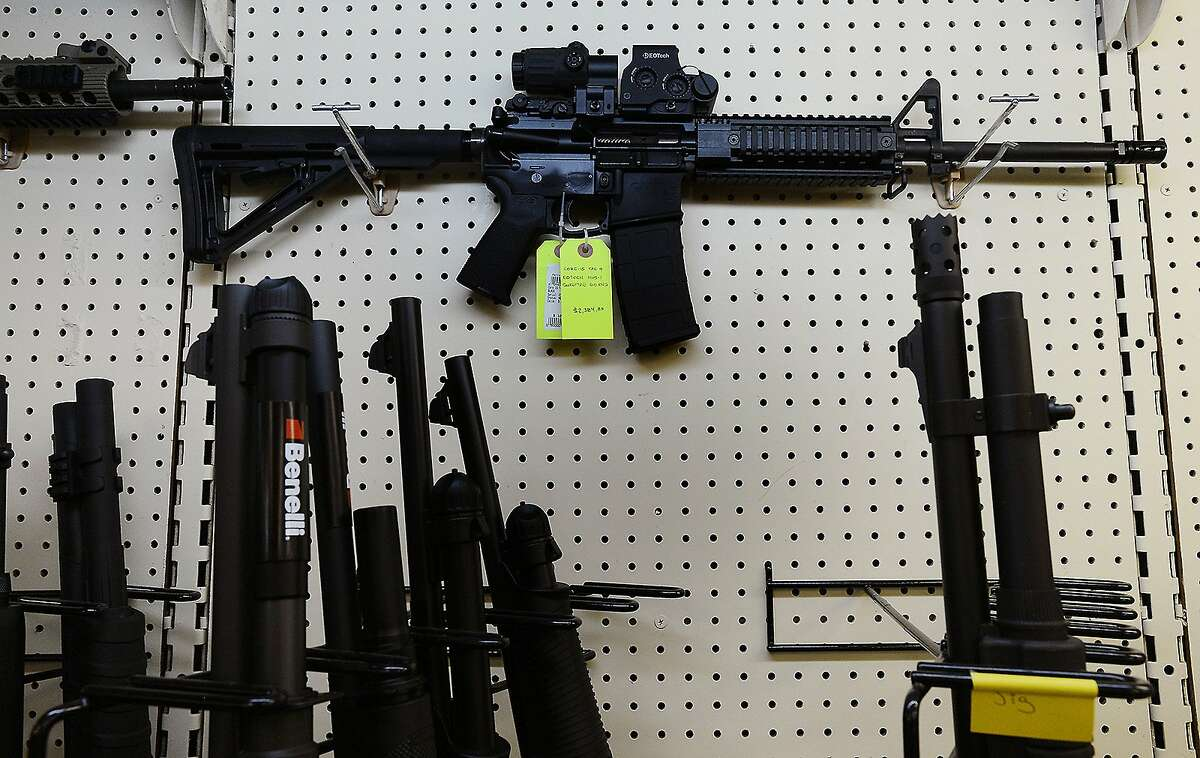On display at a gun shop, an AR-15 assault rifle manufactured by Core15 Rifle Systems.