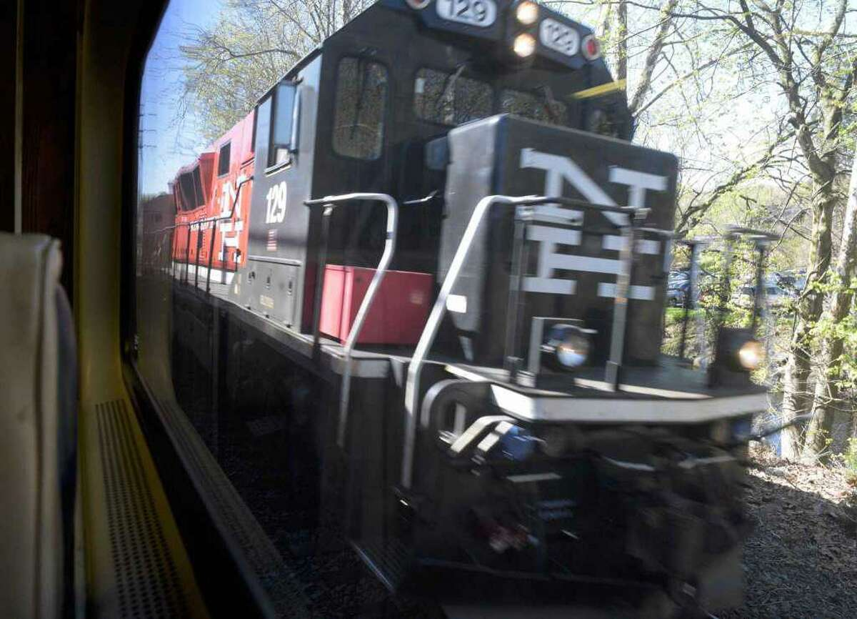 View from the 9:05 AM Metro-North train from Danbury to South Norwalk on Thursday in Danbury.