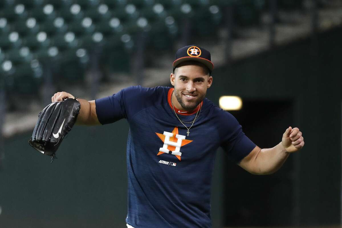 Houston Astros George Springer dances during batting practice before the start of an MLB game at Minute Maid Park, Thursday, September 5, 2019, in Houston.