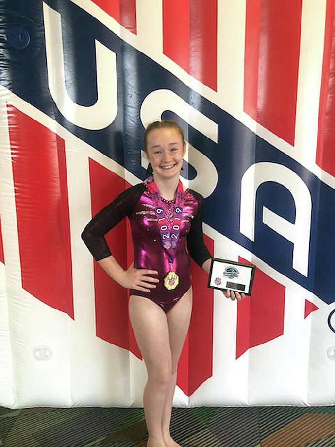 Megan Stewart of Brighton placed first overall in Sub-Advanced Power Tumbling in the 11-12 age group with a combined pass score of 80.50 and earned a gold medal at the recent Junior Olympics in Greensboro, North Carolina. She also earned second place for an overall high score out of all Ozark District participants.