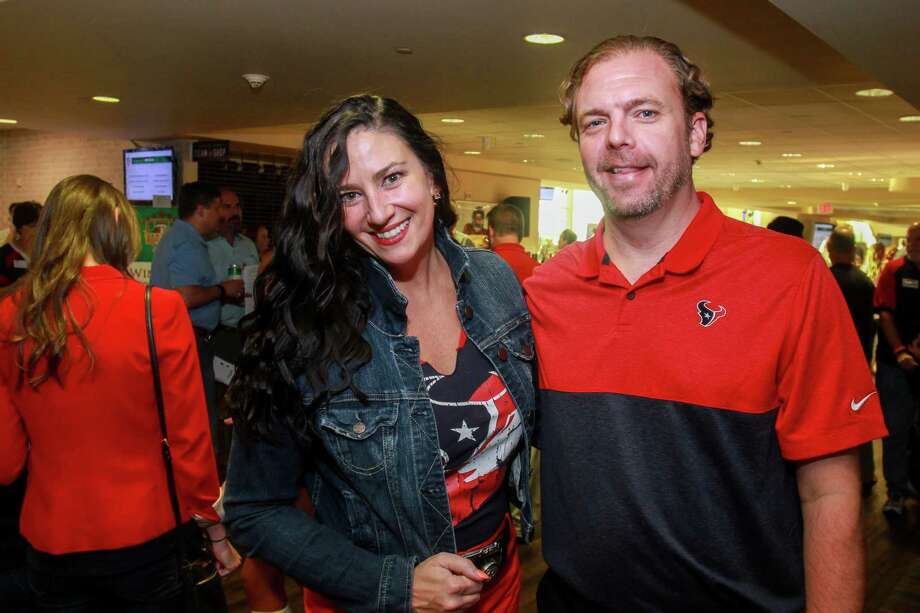 Rachel and Brent Morgan at Today's Harbor for Children's annual Fantasy Football Draft at NRG Stadium on September 4, 2019. Photo: Gary Fountain, Contributor / Copyright 2019 Gary Fountain
