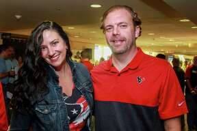 EMBARGOED FOR SOCIETY REPORTER UNTIL SEPT 5TH Rachel and Brent Morgan at Today's Harbor for Children's annual Fantasy Football Draft at NRG Stadium on September 4, 2019.