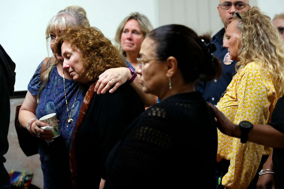 Family members of Ghost Ship fire victims gather after the verdict in the trial of Derick Almena and Max Harris at the Alameda County Superior Court in Oakland, Calif., on Thursday, September 5, 2019.