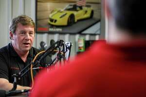 """""""Word of mouth, I think is the ultimate form of marketing,"""" said John Hennessey, left, founder and CEO of Hennessey Performance, as he talked about his company's social media presence with Warren Robinson, an external relations advisor for Shell, on Friday, Aug. 30, 2019, in Sealy. Hennessey said that Shell supported his team's efforts to develop faster and more powerful vehicles."""