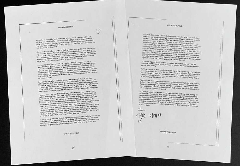A Feb. 14, 2017, memo that then-FBI director James Comey wrote after meeting with President Donald Trump, that was in the report from the Office of the Inspector General at the U.S. Justice Department is photographed Thursday, Aug. 29, 2019, in Washington. Former FBI Director James Comey violated FBI policies in his handling of memos documenting private conversations with President Donald Trump, the Justice Department's inspector general said. (AP Photo/Jon Elswick) Photo: Jon Elswick, STF / Associated Press / AP