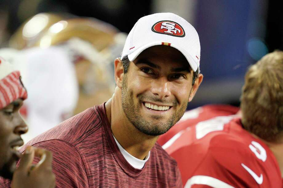 San Francisco 49ers quarterback Jimmy Garoppolo smiles on the sideline during the second half of the team's NFL preseason football game against the Los Angeles Chargers in Santa Clara, Calif., Thursday, Aug. 29, 2019. Photo: Tony Avelar, AP / Copyright 2019 The Associated Press. All rights reserved
