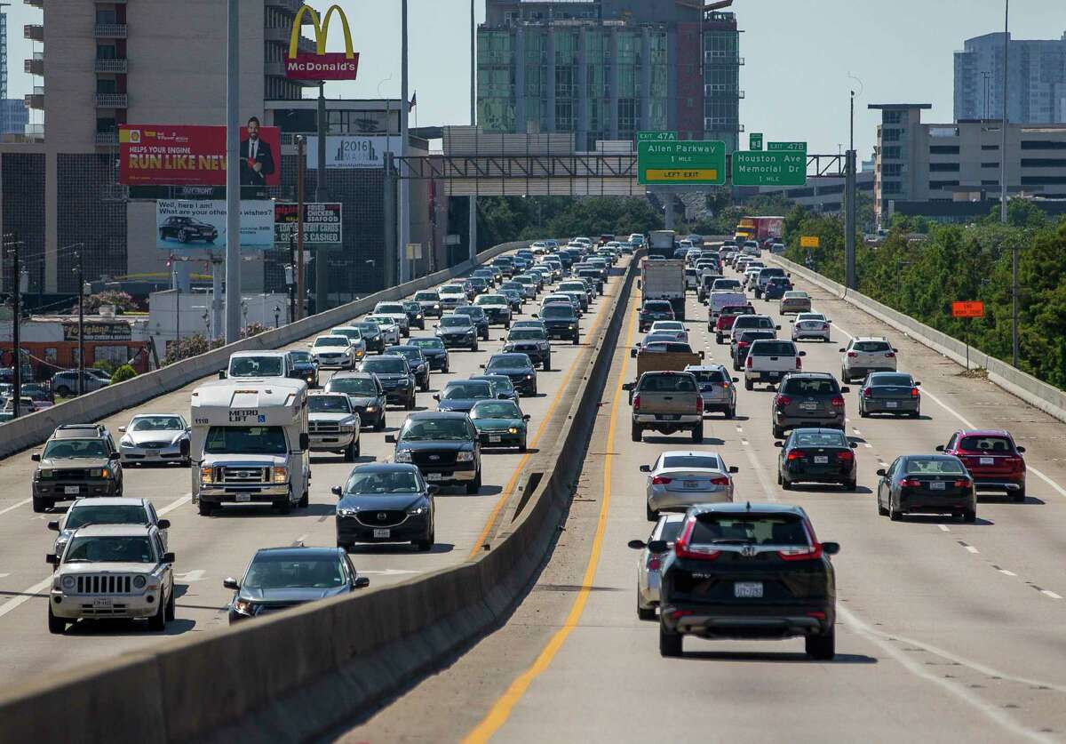 Cars travel across the Pierce Elevated portion of interstate 45 in downtown Houston, on June 12, 2019. The freeway segment will be removed as part of a massive rebuild of the freeway system.