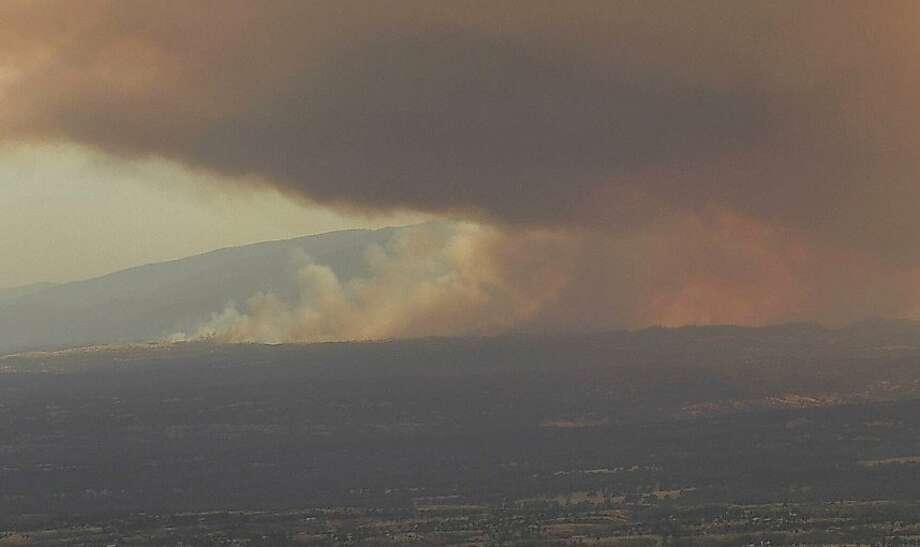 The Red Bank Fire in Tehama County has charred 8,838 acres west of Red Bluff. Photo: Shasta Modoc Cameras