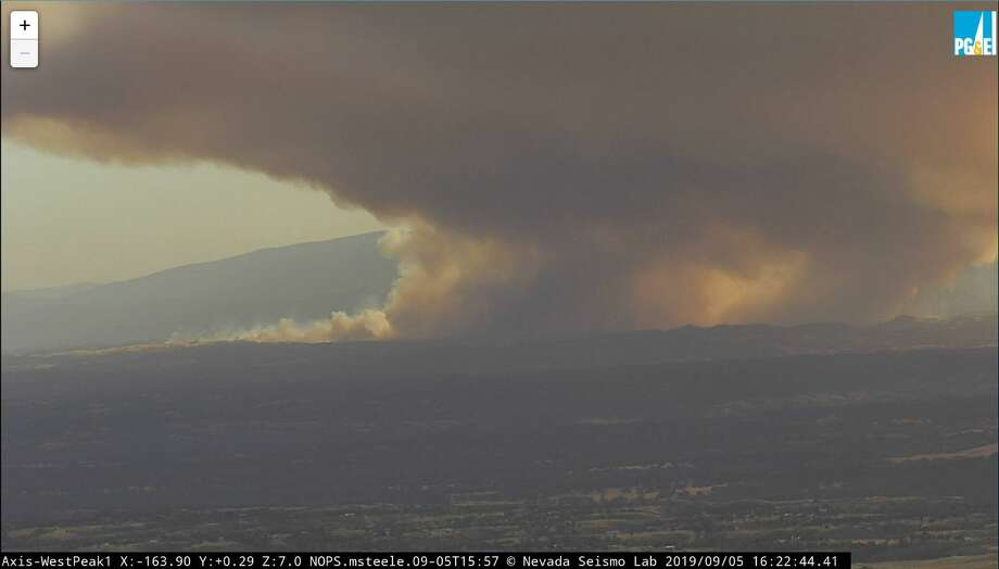 A wildfire in Northern California burned over 1,000 acres on Thursday and evacuations were ordered for Tehama County, where the fire originated. Photo: Courtesy Of The Nevada Seismological Laboratory