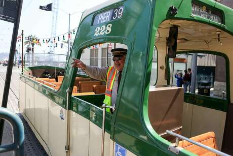 The Boat Tram, a 1934 boat tram from Blackpool, England, takes passengers for rides during the Muni Heritage Weekend on Saturday, September 9, 2017 in San Francisco, Calif.