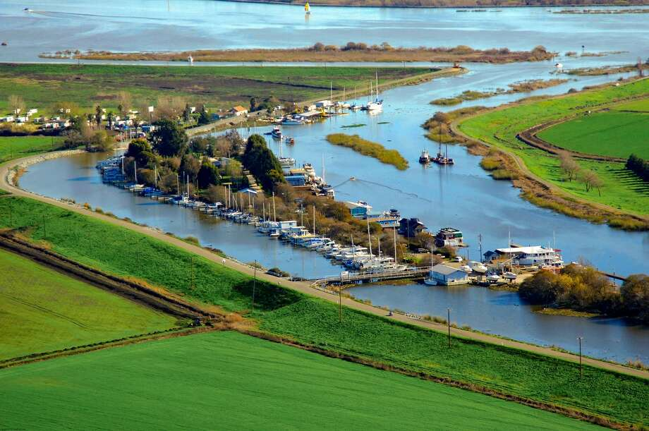 A 10-acre island in Isleton, an hour south of Sacramento in the California Delta's fresh-water Seven Mile Slough, is the site of Brannan's Boat Marina. Photo: Tony Wood
