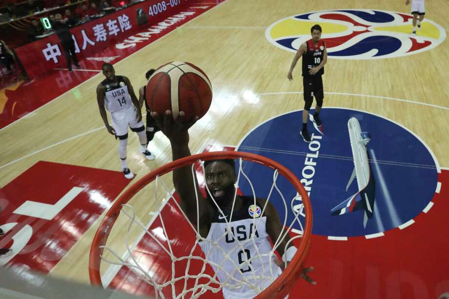 United States' Jaylen Brown tries to dunk during a Group E match against Japan for the FIBA Basketball World Cup at the Shanghai Oriental Sports Center in Shanghai on Thursday, Sept. 5, 2019. (AP Photo/Ng Han Guan, Pool) Photo: Ng Han Guan / Copyright 2019 The Associated Press. All rights reserved.