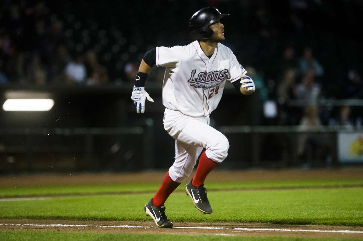 Loons third baseman Justin Yurchak sprints toward first base during a Midwest League playoff series game against the Lake County Captains Thursday, Sept. 5, 2019 at Dow Diamond. (Katy Kildee/kkildee@mdn.net)