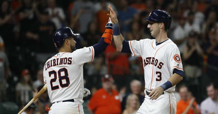Houston Astros Kyle Tucker (3) celebrates his first career home run with Robinson Chirinos (28) during the sixth inning of an MLB game at Minute Maid Park, Thursday, September 5, 2019, in Houston. Photo: Karen Warren/Houston Chronicle