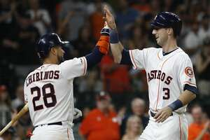 Houston Astros Kyle Tucker (3) celebrates his first career home run with Robinson Chirinos (28) during the sixth inning of an MLB game at Minute Maid Park, Thursday, September 5, 2019, in Houston.