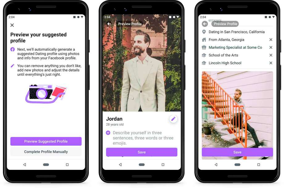 This undated product image provide by Facebook shows screenshots of Facebook Dating, a mobile-only matchmaking service. On Thursday, Sept. 5, 2019, the service will launch in the U.S. (Facebook via AP) Photo: Associated Press / Facebook