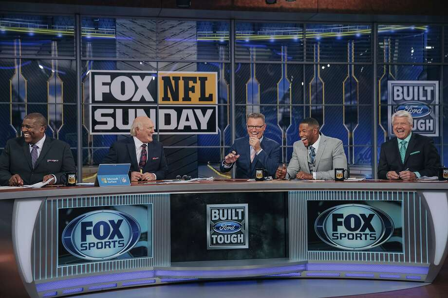 """The """"Fox NFL Sunday"""" team on set in 2018: From left, Curt Menefee, Terry Bradshaw, Howie Long, Michael Strahan and Jimmy Johnson. The show, which started in 1994, was inducted into the NAB Broadcasting Hall of Fame earlier this year. Photo: Fox Sports 2018"""