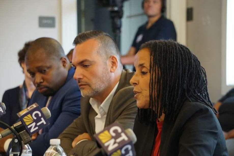 From left, Sen. Gary Winfield, Rep. Juan Candelaria and Kica Matos. Photo: Mark Pazniokas / CTMirror.org