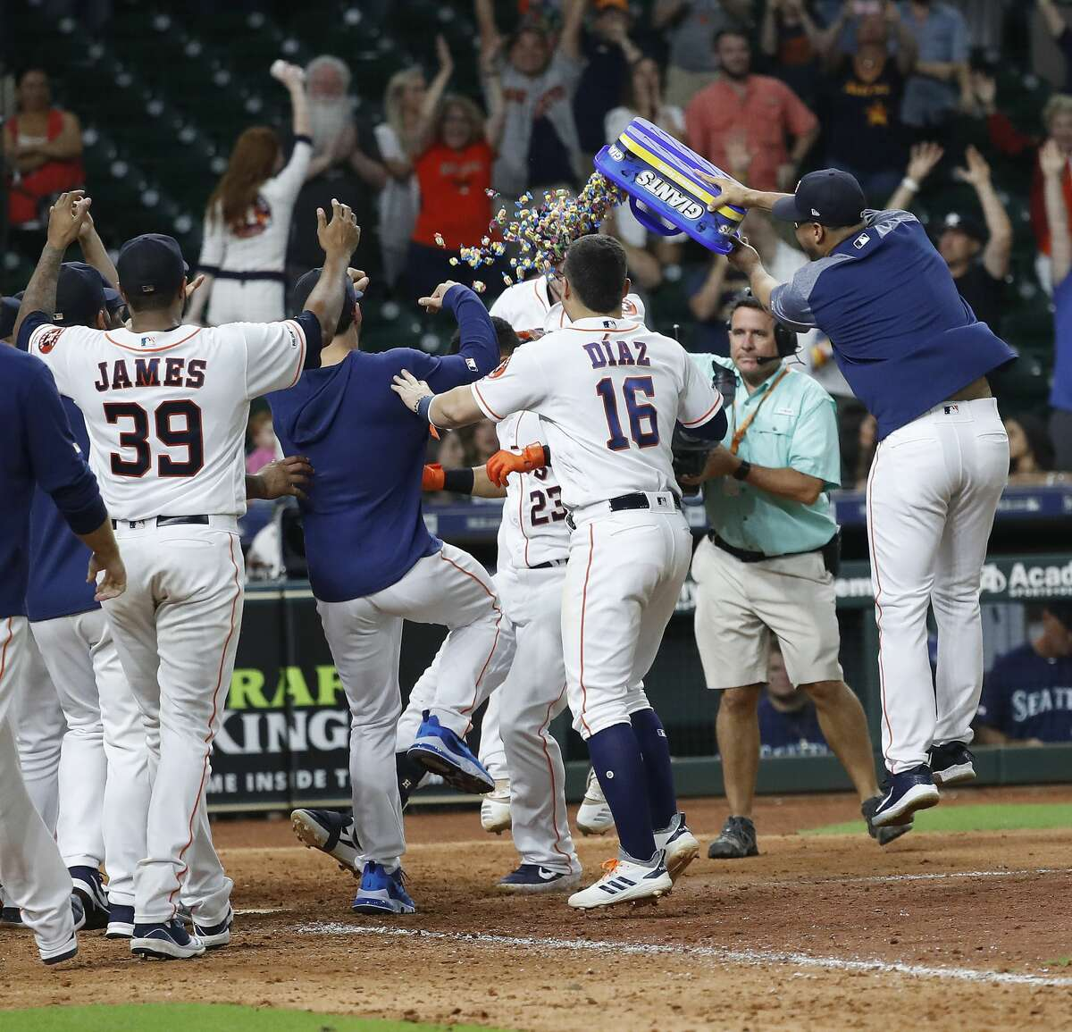 Houston Astros Michael Brantley (23) celebrates with teammates after his walk off home run to beat the Seattle Mariners 11-9 during the thirteenth inning of an MLB game at Minute Maid Park, Thursday, September 5, 2019, in Houston.