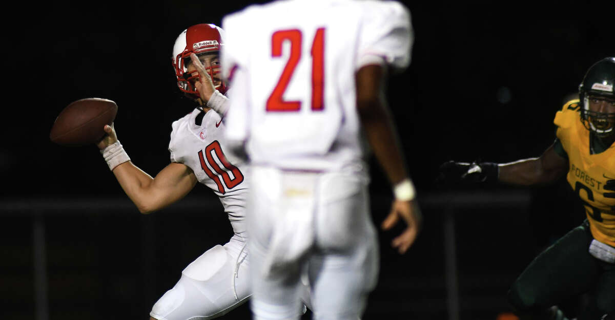 Cy Lakes senior quarterback Sofian Massoud (10) targets a receiver against Klein Forest in the 4th quarter of their matchup at Klein Memorial Stadium on Sept. 5, 2019.
