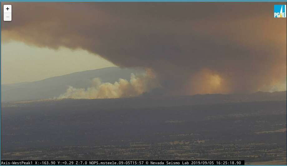 Ignited at 11:33 a.m. on Thursday, the Red Bank Fire had grown to 6,000 acres as of Thursday night. On Friday morning, it was 6,500 acres with 5% containment. Photo: PG&E