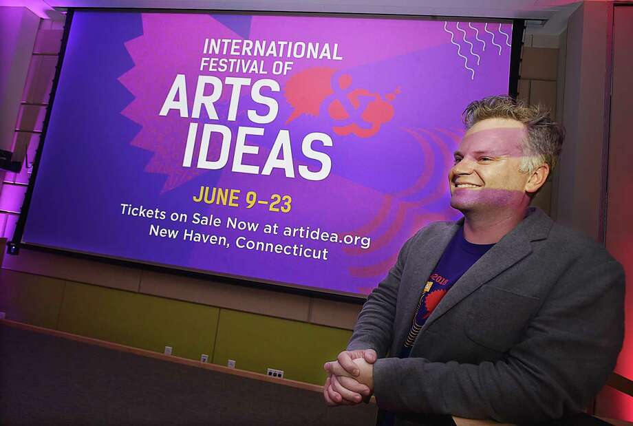Chad Herzog, previous programming director of the International Festival of Arts & Ideas in a 2018 kickoff event. Photo: Catherine Avalone / Hearst Connecticut Media / New Haven Register