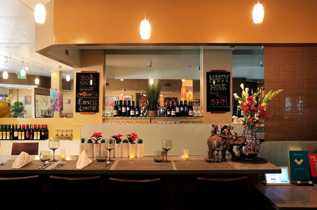 The bar at Spice of America, an Indian-Nepalese restaurant in San Francisco, Calif., on Sunday, September 1, 2019.