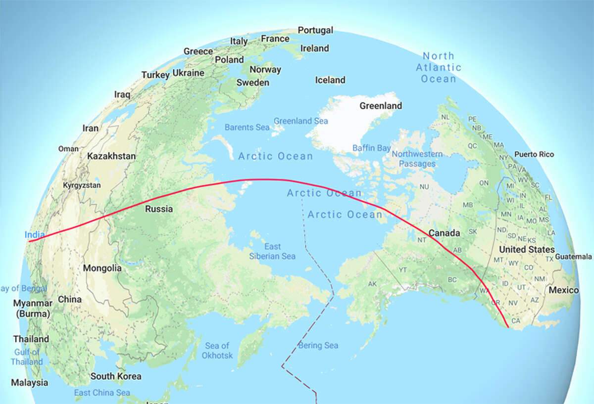 Air India now flies its San Francisco route over the North Pole.