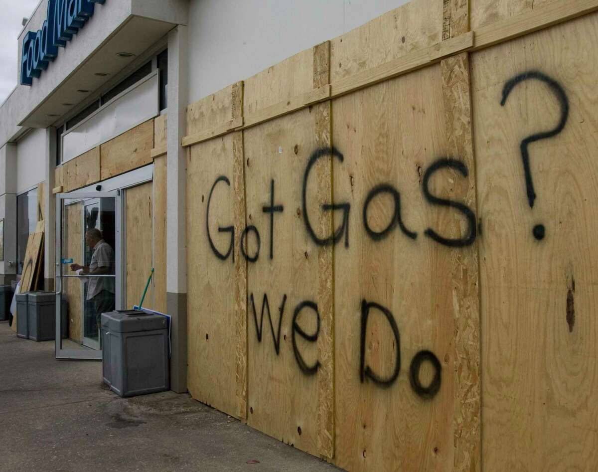 A La Porte sign on a gas station is boarded up during Hurricane Ike in 2008. The city wants residents to know what to do if a hurricane threatens the Gulf of Mexico.